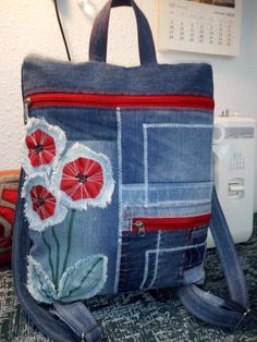 Amo Jeans, Blue Jean Purses, Jean Backpack, Denim Purse, Denim Crafts, Creation Couture, Patchwork Bags, Fabric Bags, Casual Bags