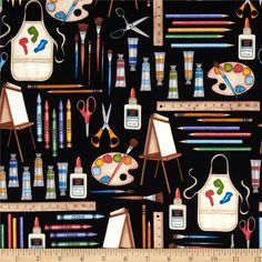 Making the Grade Art Supplies Black from @fabricdotcom  Designed by Dan Morris for RJR Fabrics, this cotton print is perfect for quilting, apparel and home decor accents.  Colors include black, white, cream, tan, brown, yellow, red, pink, purple, green, pink and orange.