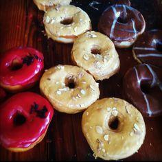 Hibiscus, dulce de leche, and chocolate Earl grey donuts @dough brooklyn