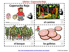 Spanish Little Red Riding Hood 2 Emergent Reader Booklets by Sue Summers - One with text and illustrations, one with text only so students can sketch and create their own versions of the booklets.