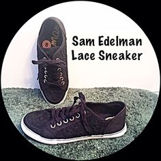 Sam Edelman Lace Sneaker 8 Add a feminine touch to your every day sneaker with these unique Sam Edelman black canvas oxfords with lace overlay. So pretty worn with your favorite jeans or shorts. NEW without tag Size 8 Sam Edelman Shoes Flats & Loafers