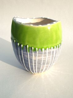Handmade Lime Green and Grey Striped Ceramic Succulant Pot Planter by CeriWhiteStudios on Etsy