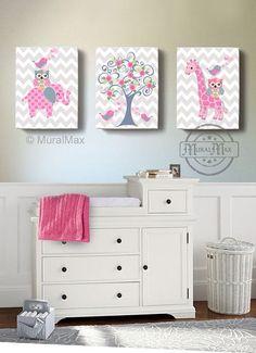 Girls wall art - OWL canvas art, Baby Nursery Owl Canvas Set, woodland nursery art , Owl print for nursery. by MuralMAX on Etsy