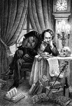 """Eddie: The Lost Youth of Edgar Allan Poe From the Introduction """"This is Edgar Allan Poe… the """"Master of the Macabre."""" Written and Illustrated by Scott Gustafson Simon & Schuster Books for Young Readers"""