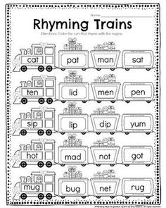 Kindergarten Math and Literacy Printables – December Super cute Kindergarten rhyming words worksheet. Color the cars that rhyme w/ the engine. Rhyming Worksheet, Literacy Worksheets, Rhyming Activities, Literacy Centers, Rhyming Kindergarten, Homeschool Kindergarten, Kindergarten Reading, Little Engine That Could, Rhyming Words