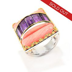 141-654 - Gems en Vogue 4.25ctw Baguette African Amethyst & Bamboo Coral Square Ring