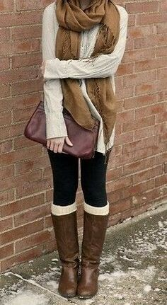 Brown long boots with brown hand bag and scarf with black leggings and cream sweater