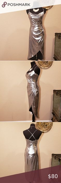 NWT BARDOT SILVER LAME' SHINY BODYCON DISCO DRESS Edgy silver evening out disco dress!! It features  ruche detail on torso, adjustable criss cross spaghetti straps in back and it's mock wrap style! Size 10. In excellent condition!! Bardot Dresses Midi Bardot Dress, Wrap Style, Fashion Tips, Fashion Design, Fashion Trends, Spaghetti Straps, Criss Cross, Size 10, Detail