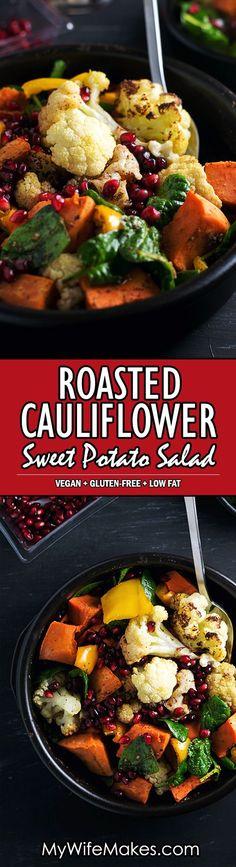 Roasted Cauliflower and Sweet Potato Salad with Cumin Sumac Dressing