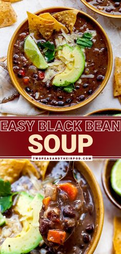 Easy Black Bean Soup is a healthy comfort food recipe made with canned black beans and everyday ingredients! This flavorful black bean soup is vegan, gluten-free, and vegetarian. It is filled with healthy ingredients and seasoned to perfection. Pin this favorite comfort food! Healthy Comfort Food, Healthy Eats, Easy Black Bean Soup, Easy Cheap Dinner Recipes, Soup Recipes, Vegan Recipes, Haitian Food Recipes, Creole Recipes, Homemade Soup