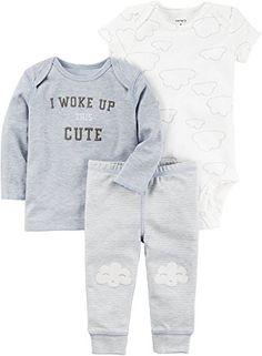 afa3c4f392 Carter's I Woke Up This Cute T-Shirt, Bodysuit Pants Set, Baby Boys Newborn  Infant Clothing embroidered T-shirt cloud-themed print appliqué bottom snap  baby ...