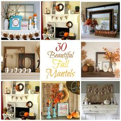 Round up of over 30 beautiful fall mantel displays.