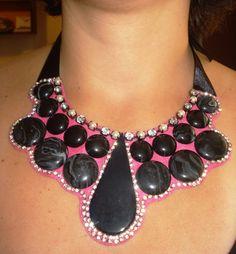 Black Pink Strass Statement Bib Necklace by LLiLLiRuas on Etsy, $25.00
