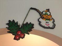 Lakitu and holly Christmas perler