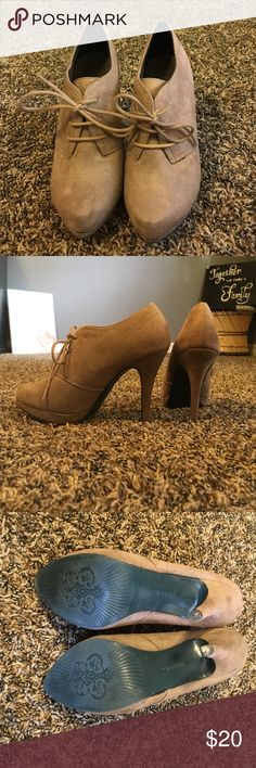 Tan Suede Booties These booties are so cute for this fall season! They lace up to fit your foot more perfectly. Any questions just ask! Shoes Ankle Boots & Booties