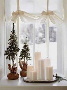 Window sill decorating ideas for winter holidays and New Years Eve party