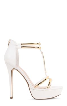 Open Toe Platform High Heel with T Strap and Gold Accents