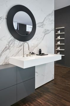 Kartell by Laufen Flagshipstore brought its innovative and functional vision of the bathroom to Milan Design Week washbasin asymetric with sideboard mirror NEW colour black Hotels Design, Wash Basin, Kartell, Beautiful Bathrooms, Round Mirror Bathroom, Laufen Bathroom, Mirror, Bathroom Design, Bathroom