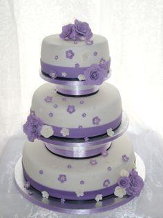 Summer Wedding Cakes | Purple summer wedding Round Wedding Cakes, Summer Wedding Cakes, Purple Wedding Cakes, Summer Cakes, Purple Summer Wedding, Desserts, Food, Tailgate Desserts, Deserts