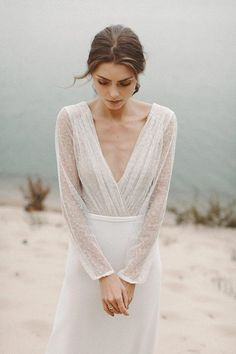 Simple bridal gown long sleeve and backless wedding dress wedding dress ball gown wedding dress vint Long Sleeve Wedding, Modest Wedding Dresses, Boho Wedding Dress, Bridal Dresses, Lace Wedding, Wedding Dress Simple, Wedding Rings, Rustic Wedding, Light Wedding Dresses
