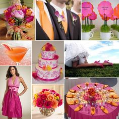 Fuschia and orange. Love everything but the bridesmaid dress