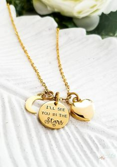 Gold cremation jewelry, gold cremation necklace, I'll see you in the stars gold urn necklace, gold memorial jewelry, gold ashes necklace by Love1Oak on Etsy