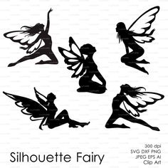 Fairy Butterflies Silhouette (eps, svg, dxf, ai, png) Vector ClipArt Decal window Vinyl Wall Sticker Digital Cutting Cameo EasyCutPrintPD