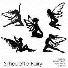 Fairy Butterflies Silhouette (eps, svg, dxf, ai, png) Vector ClipArt Decal window Vinyl Wall Sticker Digital Cutting Cameo EasyCutPrintPD