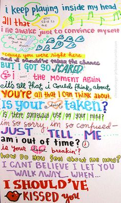 I Should Have Kissed You-One Direction lyrics. Even more girly stuff. The only really good One Direction song.