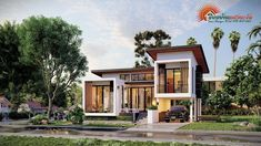 Village House Design, House Front Design, Village Houses, Modern Family House, Modern Bungalow House, Model House Plan, House Plans, Two Storey House, Modern Style Homes