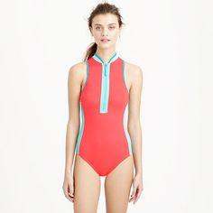Neon zip-neck one-piece swimsuit