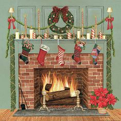 Home For The Holidays I Art Print by David Carter Brown. All prints are professionally printed, packaged, and shipped within 3 - 4 business days. Christmas Drawing, Christmas Art, Winter Christmas, Vintage Christmas, Christmas Decorations, Xmas, Fireplace Drawing, Fireplace Art, Christmas Fireplace