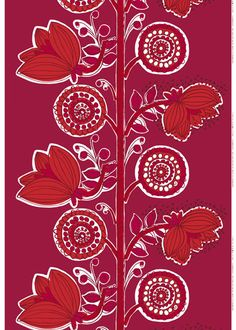 "Marianne Coveney European Essentials ""Kissanminttu"" Marimekko fabric, Color 334. Red, Dark Red, White. Design: Erja Hirvi"