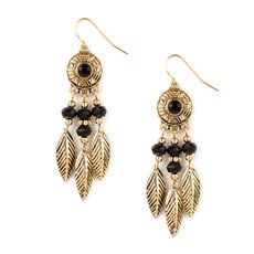 Dream Catcher with Gold Leaves and Black Beads Drop Earrings