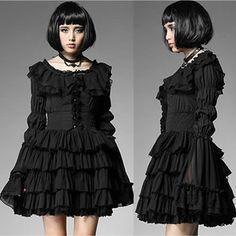 Black Linen Fringe Layer Gothic Burlesque Fashion Cocktail Party Dress SKU-11402303