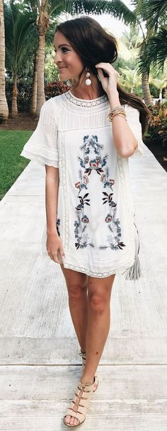 A beautiful white embroidered dress is perfect for a tropical getaway. Let Daily Dress Me help you find the perfect outfit for whatever the weather! dailydressme.com/
