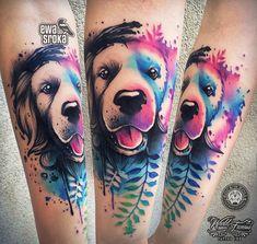 No photo description available. Tattoos For Dog Lovers, Dog Tattoos, Girl Tattoos, Tattoos For Guys, Tattoos For Women, Colour Tattoo For Women, Skin Color Tattoos, Wildlife Tattoo, Tattoo Spirit