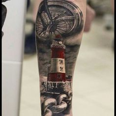 Planning my half sleeve memorial to Mom. I love the black/grey with the lighthouse in color. That's what I'll be going with. ⚓️