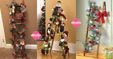 escaleras navideñas decoradas18 Christmas Decorations, Christmas Tree, Holiday Decor, Craft Stores, Ideas Para, Ladder Decor, Garland, Embellishments, Diy And Crafts