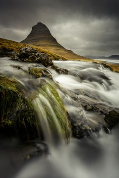 Mountain Kirkjufell under a threatening sky - Iceland