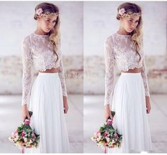 Find More Wedding Dresses Information about 2015 Hot Two pieces Crop Top White Wedding Dresses Chiffon Ruched Floor Length prom Gowns Spring Lace Long Sleeve bridal gown,High Quality gown bridal,China gown party Suppliers, Cheap gown red from True Love Bridal dress Co., Ltd.  on Aliexpress.com