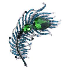 EVER FAITH SilverTone 43 Inch Feather Plume Brooch Blue w Green Austrian Crystal ** Find out more about the great product at the image link.
