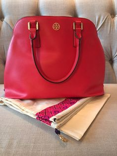 Tory Burch Robinson Open Dome Satchel in Red #ToryBurch #Satchel