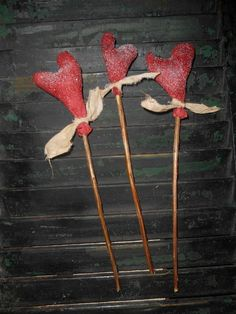 Set of 3 Extreme Grungy Primitive Heart Pokes Ornies Valentine Handmade Gift Red #NaivePrimitive #handmade