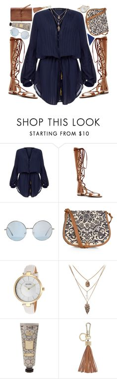 """""""T4"""" by aagos ❤ liked on Polyvore featuring ViX, Louise et Cie, Accessorize, Bulova, FOSSIL, women's clothing, women's fashion, women, female and woman"""