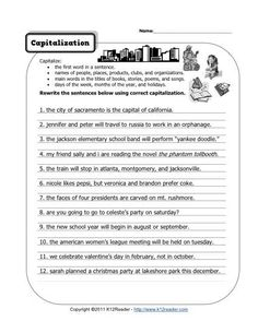 correct the sentence capitalization and punctuation worksheet kids writing punctuation. Black Bedroom Furniture Sets. Home Design Ideas