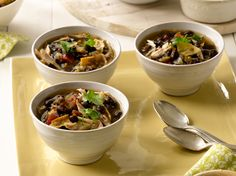 Recipe of the Day: Melissa's Slow Cooker Chicken Tortilla Soup  After days of indulgences and cooking dish after dish, go for a hearty soup that's good for you and practically cooks itself. Cooked low and slow with chicken, beans and tomatoes, this warming Mexican-inspired meal gets a topping of home-baked tortilla chips and Monterey Jack.