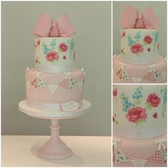 Bunting, Flowers & Bow Cake
