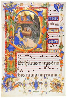 Nativity, in an initial P. Leaf from a Gradual (I), in Latin. Illuminated by Don Silvestro dei Gherarducci for Paolo Venier, abbot of San Michele à Murano Italy, Florence, ca. 1392–1399. 590 x 400 mm
