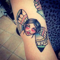 Butterfly Tattoo faces traditional #tattoolifemagazine #tattoolife #italian_traditional_tattoo #tattoocollection #tattoo #neotraditional #tattoo #mamasink #inkerstattoo www.inkerstattoo.it